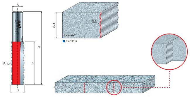Фрезы для работы по искусственному камню, cерия 85-03312