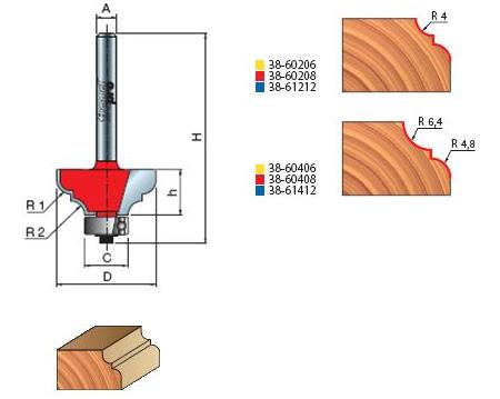 Фрезы профильные торцевые, cерия 38-60…,38-61…